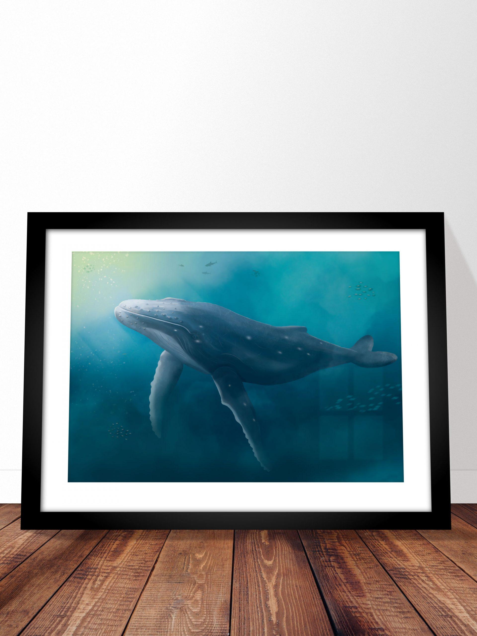 Poster d'art baleine fond marin A3