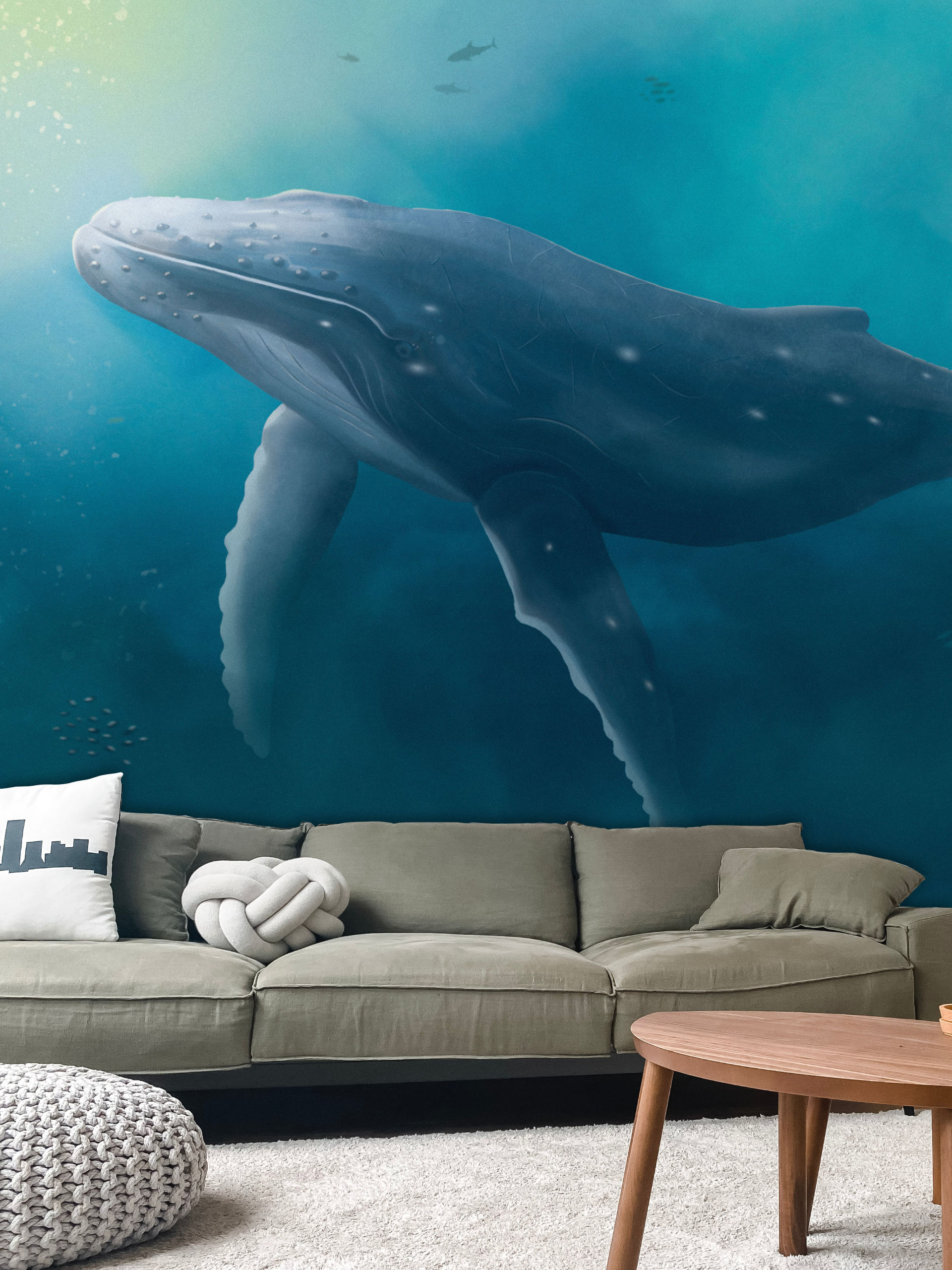 Papier peint panoramique baleine dans salon design